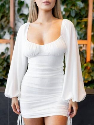 wholesale7 Sexy Ruched Package Buttocks Long Sleeve Dress